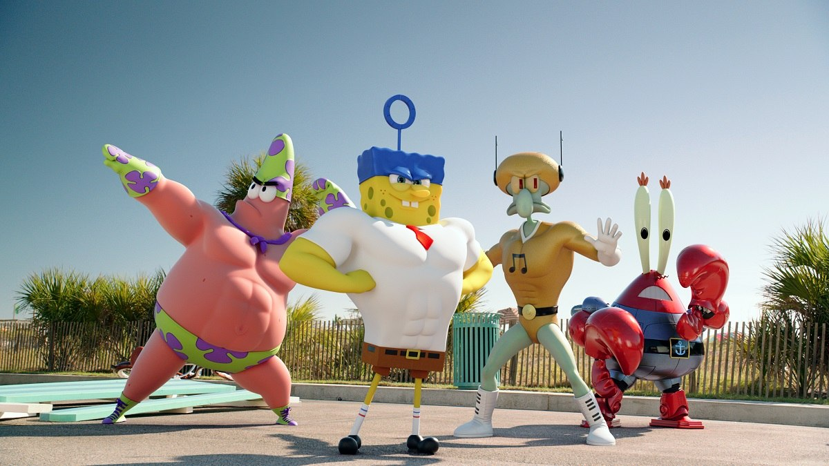 Left to right: Patrick Star (as Mr. Superawesomeness), SpongeBob SquarePants (as The Invincibubble), Squidward Tentacles (as Sour Note), and Mr. Krabs (as Sir Pinch-A-Lot), in SPONGEBOB: SPONGE OUT OF WATER, from Paramount Pictures and Nickelodeon Movies.